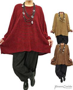 LAGENLOOK Pullover Strass Shirt Oversize Pulli XL-XXL-XXXL 46 48 50 52 54 56 58