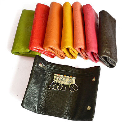 Women's Men's real Leather Key Holder Key Case Trifold Wallet Coin Purse Pocket