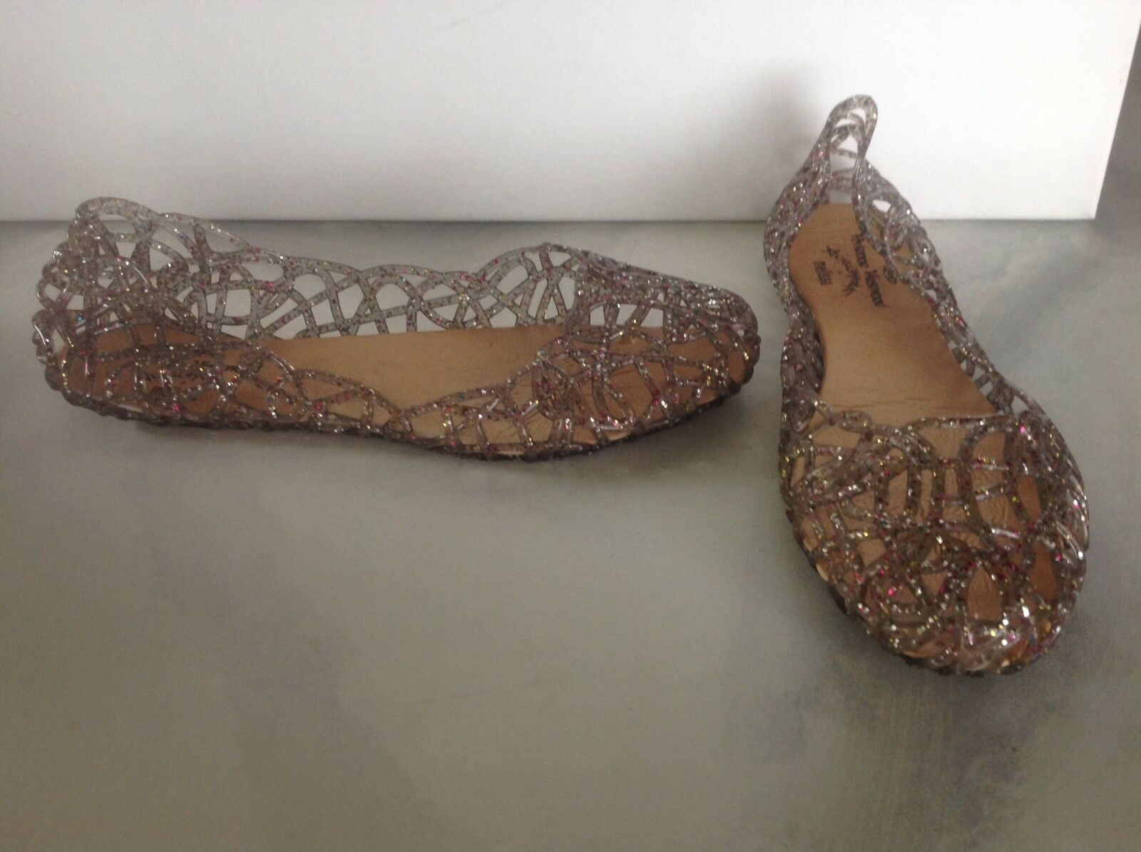 Melissa Toe Clear Confetti Glitter Peep Toe Melissa Ballerina Flats Vivienne Westwood 39 8.5 f437d8