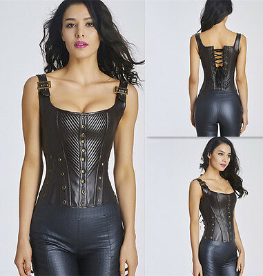 Gothic Steampunk Faux Leather Zipper Boned Lace Up Overbust Corset Bustier S-2XL