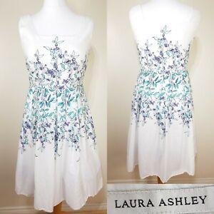 Laura-Ashley-Femmes-Blanc-Vert-Violet-Floral-coupe-flare-taille-de-robe-d-039-ete-de-14