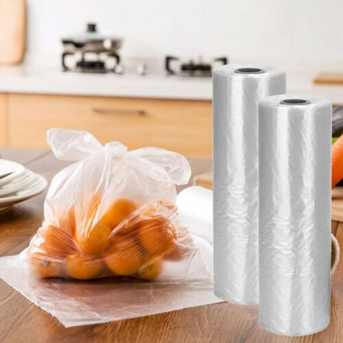 2 Rolls 16 x 20 Plastic Produce Clear Bags On Roll Kitchen Fruits Vegetables