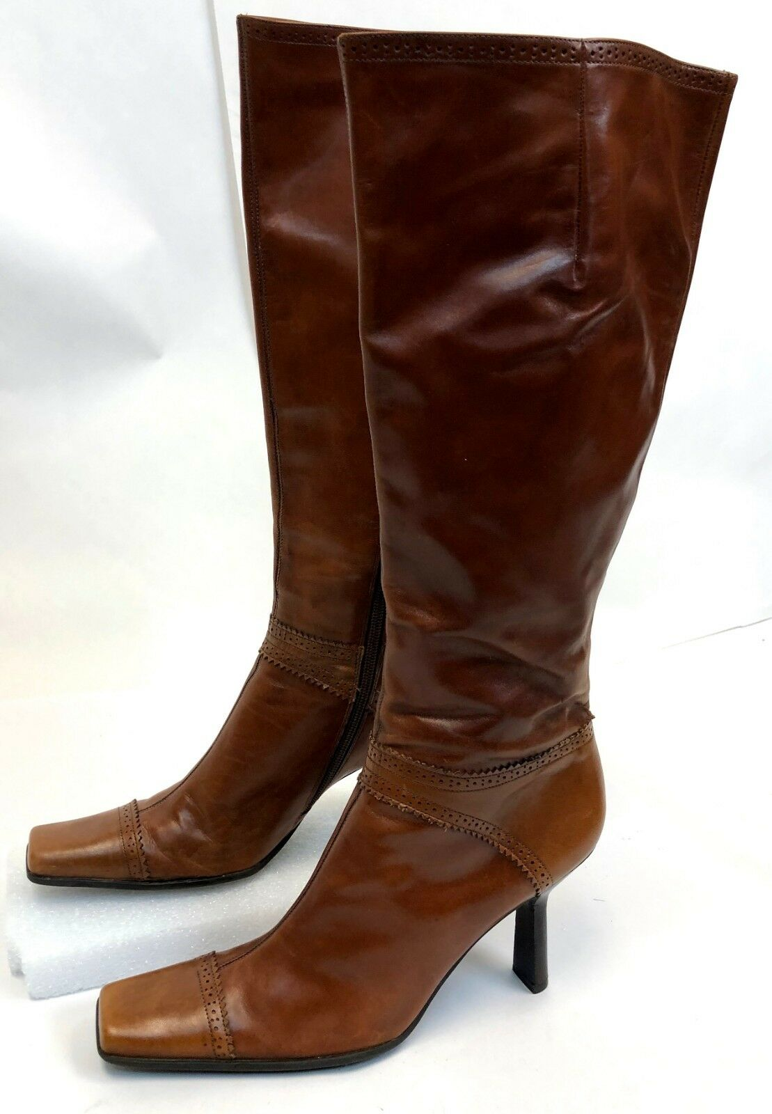 BCBG Girls Tall Calf Brown Leather Square Toe High Heel Riding Boots Size 9.5 B