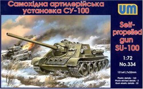 Unimodel 334-1//72 SU-100 Soviet Self-Propelled Gun WWII Plastic Model UM 334
