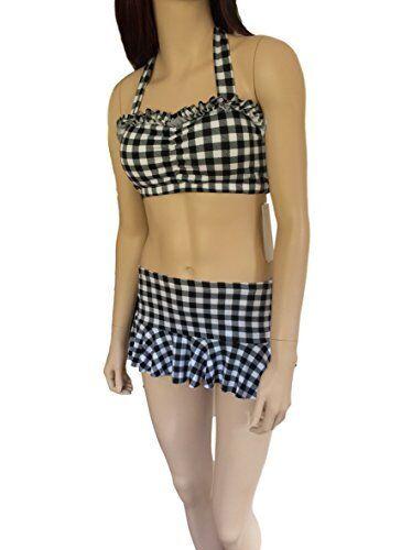 8-10UK // 36-38EU, BLACK//WHITE Ladies Gingham Bikini//Swimwear Set