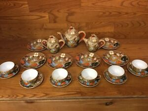 Japan-Satsuma-Dragonware-Moriage-Tea-Set-Pot-Creamer-Sugar-Plates-ETC-Excellet
