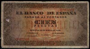 Billete de España 100 pesetas 1938 Burgos G 4832416