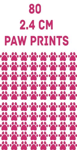 80 X HOT PINK Paw Print Chien Chat Autocollant Vinyle Autocollants Voiture 2.4 cm Verre artisanat art