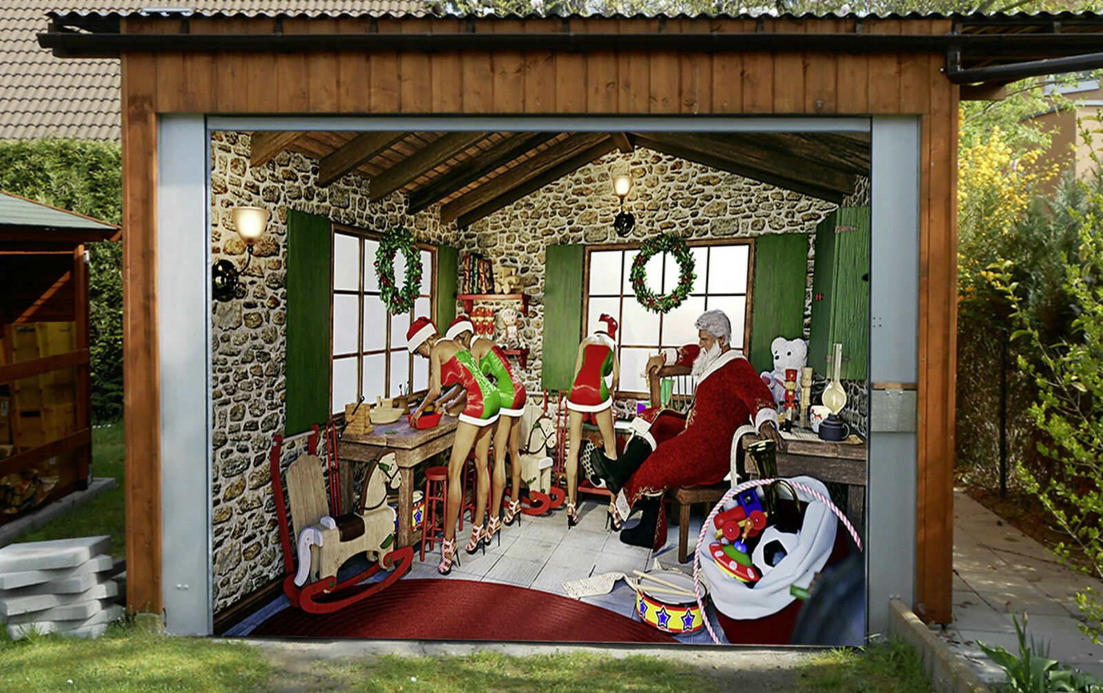 3D Père Noël 27 Garage Door Murals Wall Print Decal Wall Deco AJ WALLPAPER FR