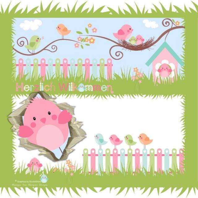 Auktionsvorlage ❀ Sommer Vögel Baby Kinder Responsive Template Ebay Vorlage |547