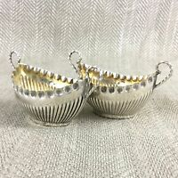 Victorian Table Salts Pair of Salt Bowls Half Ribbed Silver Plated