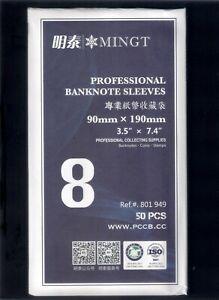 PCCB / MINGT OPP Plastic Banknote Sleeves Bag, 90mm x 190mm (No. 8)