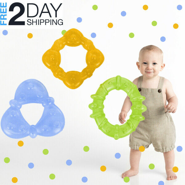 Baby Teething Rings 3Pcs Plastic Water-Filled Educational Family Relief Toy Gift