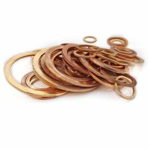 Various Sizes New Flat Washer Copper Crush Washers Gasket Seal Ring For Boat