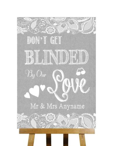Grey Burlap /& Lace Effect Don/'t Be Blinded Sunglasses Personalised Wedding Sign