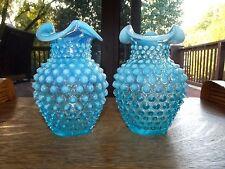 """set (2) Glass Vases 5-1/2"""" Fenton Hobnail Aqua Blue Opalescent ruffled rims rare"""