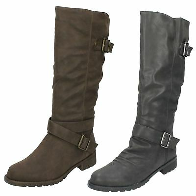 R33A Spot on Ladies Knee High Boots F5R0623 Dark Brown
