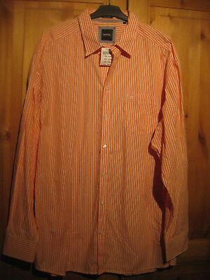100% Vero Bonita Uomo Camicia Tg. 3xl 47/48 Top Nuovo Arancione/bianco A Strisce-mostra Il Titolo Originale