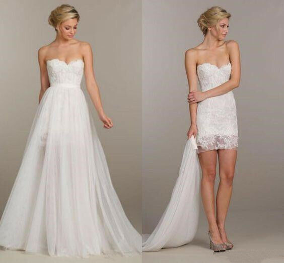 New Two In One Wedding Dress Short White Lace Bridal Gown Detachable Tulle Skirt
