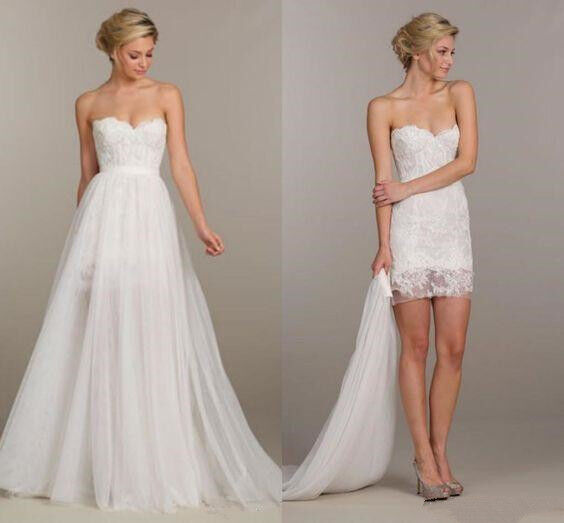Two In One Wedding Dresses Short Bridal Gowns Detachable