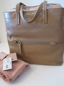3671313bb5f9 miu miu leather tote rr1820 tan vitello leather purse bag by prada