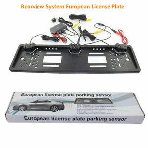 EU-Car-License-Plate-Parking-Sensor-Reverse-Radar-w-HD-Rear-View-Backup-Camera-amp