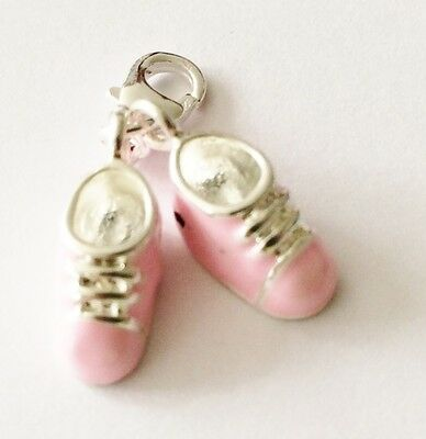 LOVELY PAIR OF PINK SILVER & ENAMEL BABY SHOES CLIP ON CHARM FOR BRACELETS - S/P