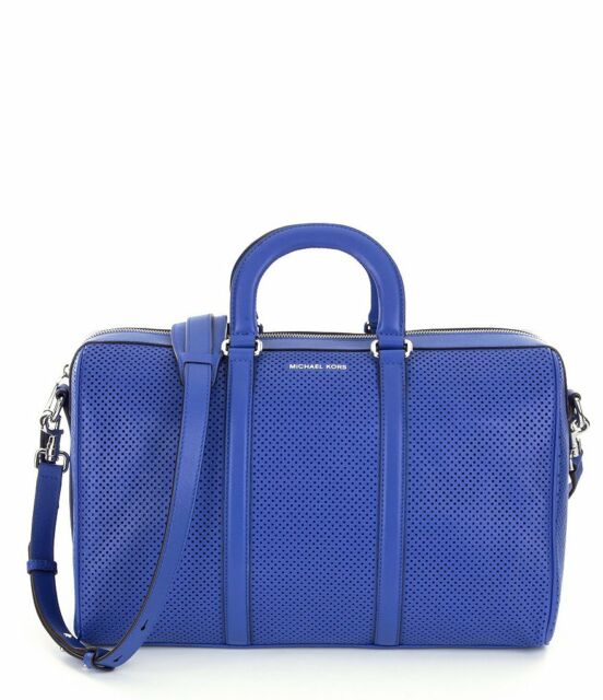 18051e87e0f069 Michael Kors Libby Large Perforated Leather Gym Bag Tote Electric ...