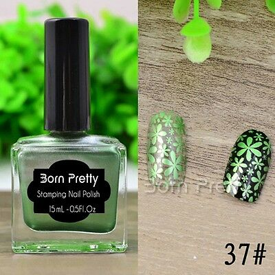 15ml Born Pretty Shimmer Green Nail Art Stamp Stamping Plate Polish Varnish 37#