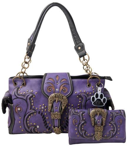 Western Handbag Floral Bronze Buckle Concealed Carry Women Purse and Wallet Set
