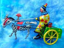 Tin Toy - Old clown with chariot - Clown en tôle avec un chariot et un âne.