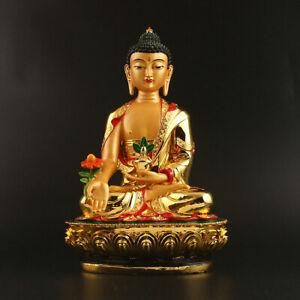 29CM-Tibet-Tibetan-Buddhism-Resin-Sit-Lotus-Shakyamuni-Medicine-Buddha-Statue