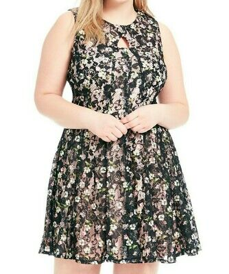 Gabby Skye Womens Plus Size Short Sleeved Fit and Flare Dress with Key Hole