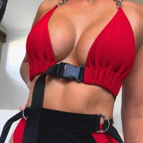 Womens Ladies Front Buckle Bralette Bralet Bra Bustier Crop Top Unpadded Tops