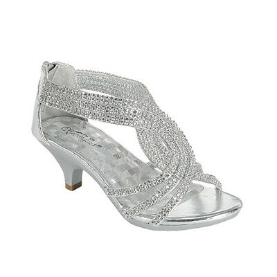 New girl buckle closure dress shoes open toe special occasion formal Silver