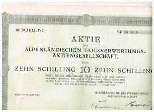Alpenländische Holzverwertungs-AG, Wien 1926, 10 Schilling. gelocht, VF