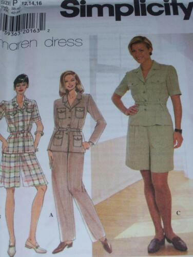 LADIES BELTED TOP w//POCKETS /& PANTS SIMPLICITY #7598 SHORTS PATTERN  6-22 FF
