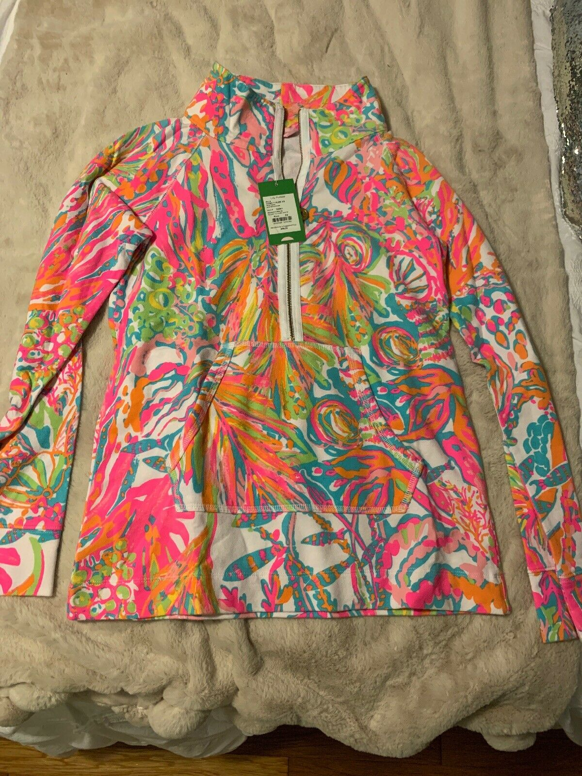 XS Lilly Pulitzer Skipper Popover Scuba To Cuba NWT Great Print Placement