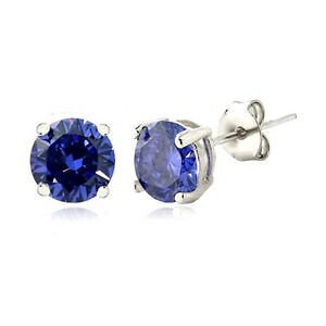 Silver-Tone-Simulated-Tanzanite-6mm-Round-Stud-Earrings