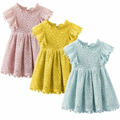 Flower Girl Princess Dress Kids Baby Party Wedding Pageant Lace Crochet Dresses