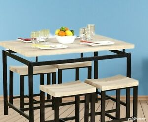 Details about Apartment Dining Set Space Saver Dorm Modern Wood Furniture  5-Piece Table Stools