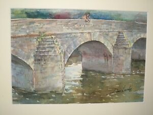 Dennis-Lascelles-b-1949-20th-Century-Watercolour-BRIDGE-MERTHYR-MAWR-NEAR-FINE