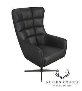 Mid-Century-Modern-Style-Grey-Leather-Swivel-Chrome-Base-Chair