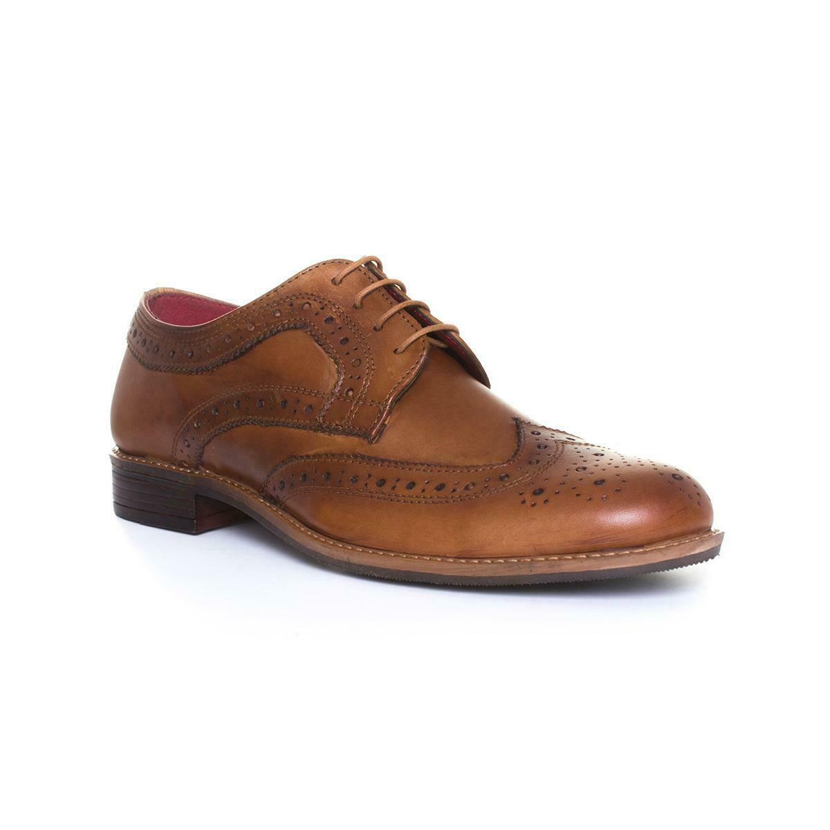 Mens Brogue Shoe Lace Up Shoe in Brown by Silver Street Size UK 7,8,9,10,11,12