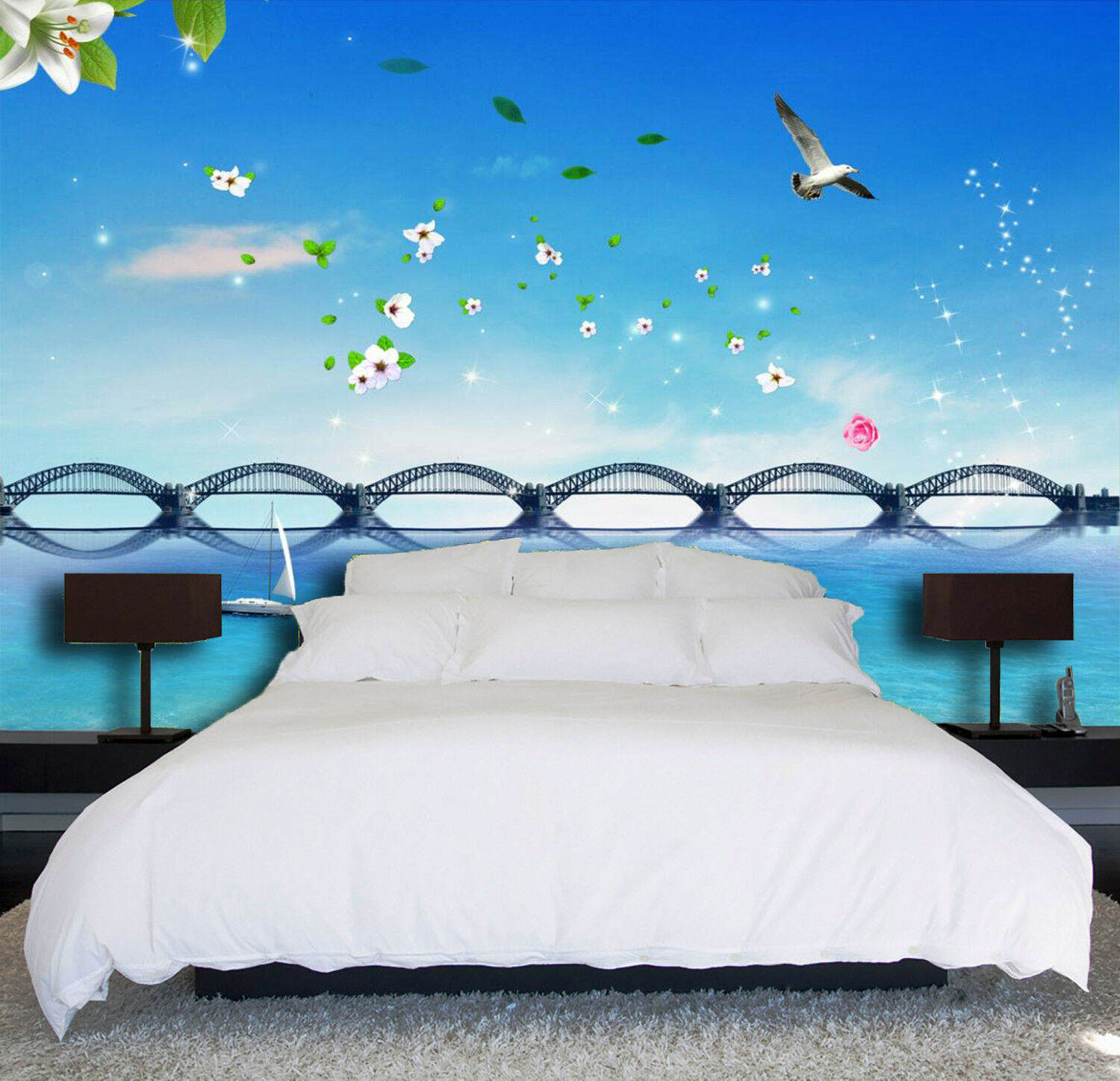 3D Blau Sky Bird Bridge 839 Wallpaper Mural Paper Wall Print Wallpaper Murals UK