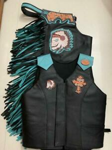 Western Leather Top Grain Black & Turquoise Bull Riding Rodeo Chaps & Vest