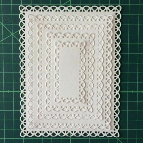Laced Cutting Dies Frame Cut Die Rectangle Photo Album Card Making Crafts 5pcs