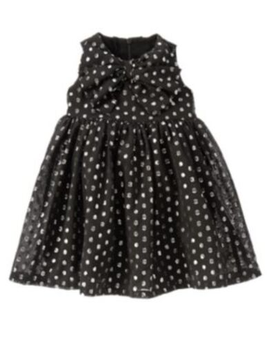 GYMBOREE PARTY PLAID BLACK SILVER SPARKLE DOT DRESSY DRESS 6 12 24 2T 3T 4T NWT