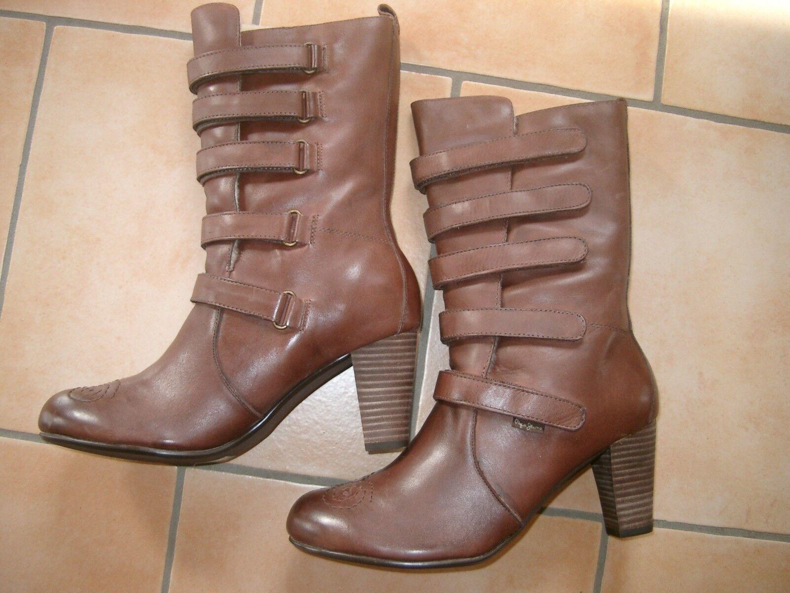 (z37) haute PEPE JEANS Chaussures Femmes Bottes en cuir doubleure à Velcro gr.38