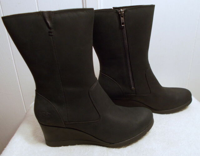 8f9025720ab UGG Australia Joely Black Wedge Waterproof Leather Boot Women's Size 9.5